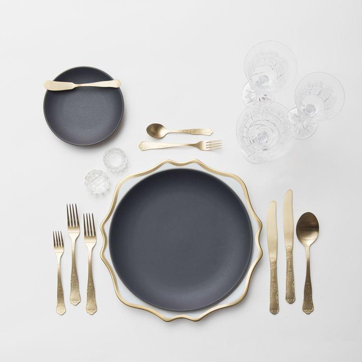 Matte Gold and Black Dinnerware
