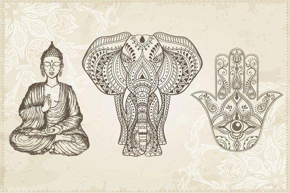 Hamsa, Elephant and Sitting Buddha by Fafarumba on @creativemarket