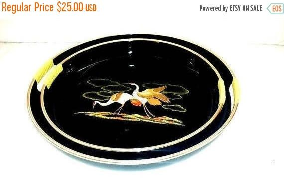 Vintage Lacquerware Trays with Handles,Serving Tray, Black Lacquerware,Trays with Cranes,Asian Tray,Serving Platter,Mid Century, 1960s by JunkYardBlonde on Etsy