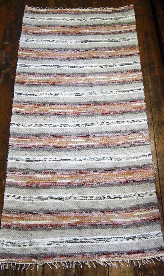 Handwoven rag rug , - 2.91' x 5.97,'  , beige, dusty beige, light orange stripes, ready for sale