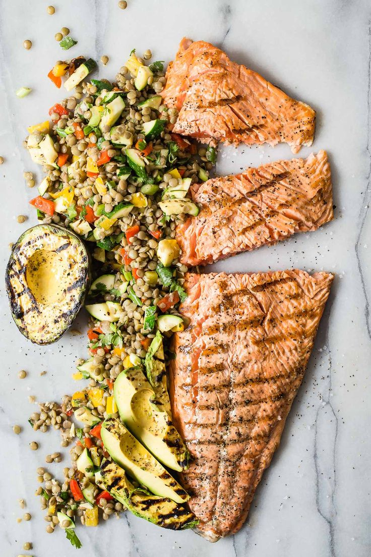 Grilled King Salmon with Lentil Salad  by foodgraciousness #Salmon #Lentil