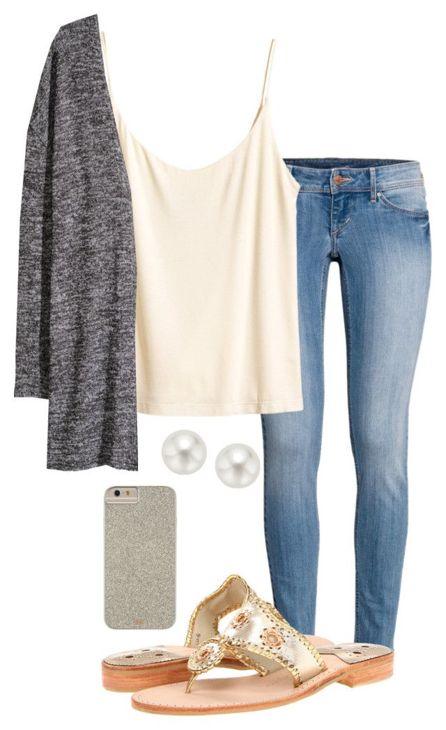 """Ootd "" by madelyn-abigail ❤ liked on Polyvore featuring H&M, Jack Rogers, Pearlyta and Case-Mate"