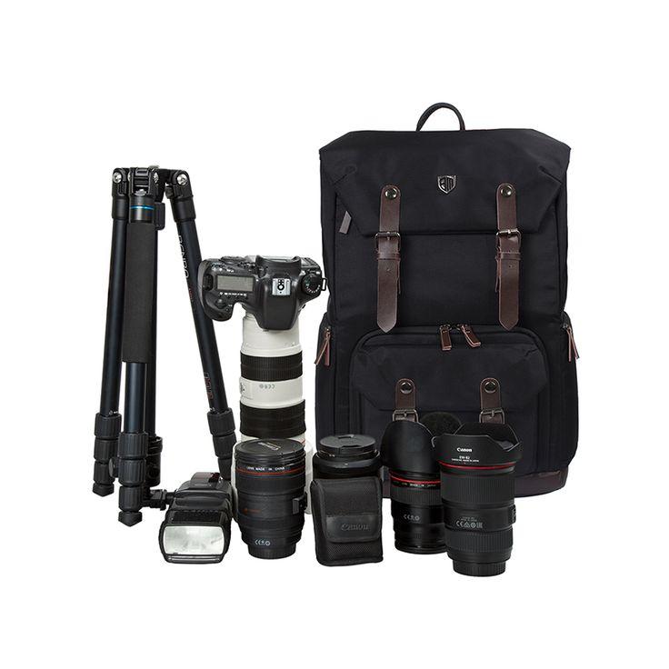 2016 мужская Рюкзак Для Камеры Фото Холст и Кожаная сумка для Фотокамеры Цифровые ЗЕРКАЛЬНЫЕ Ноутбук 17 Рюкзак Для Фотожурналистов энтузиастов