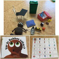 Ytterligare en språklåda som bygger på Babblarböckerna. Förutom språkljuden så tränar den här mycket lägesord, på, under, i osv. Vi har en pekpratskarta som stöd för kommunikationen även till denna bok som barnen har tillgång till för att kunna följa med, svara på frågor och återberätta efteråt #förskola #lpfö98 #utvecklingochlärande #motivation #tillgänglighet #babba #babblarna #konkretmaterial #språklåda #språkutveckling #matematik #lägesord #pekprat#visuelltstöd #akk #delaktighet