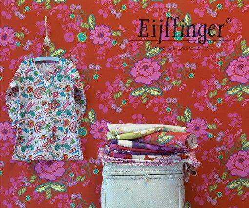 Eijffinger Bindi 397851 | Rood behang | www.behangwereld.nl