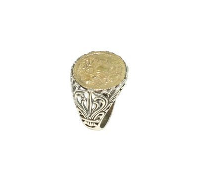925 Ayar Gümüş Antik Bizans Tasarım yüzük