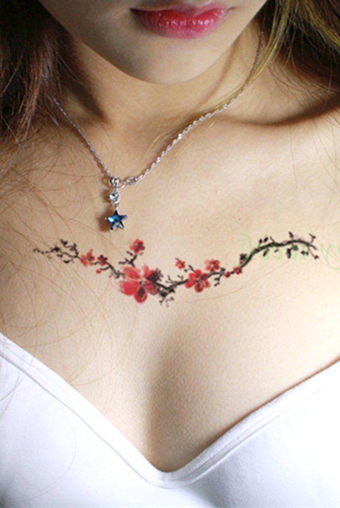 70f63e5d6 Watercolor Floral Flower Chest Tattoo Ideas for Women - Flores de acuarela  en el pecho del tatuaje Ideas para mujeres - www.MyBodiArt.com #tattoos