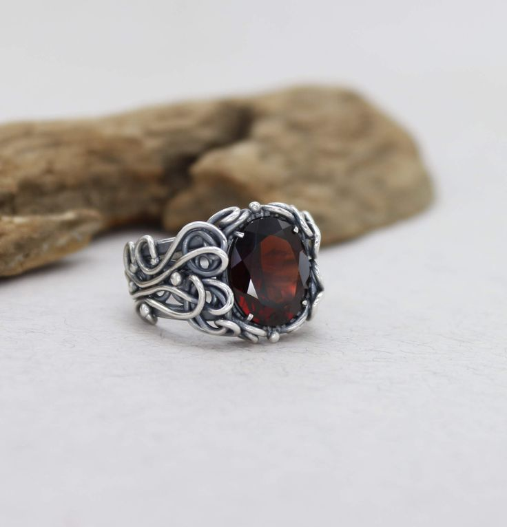Garnet Wedding Ring Silver Garnet Engagement Ring For Women Red Gemstone Wedding Ring Anniversary Ring Red Stone Silver Ring Sterling Silver by SilverJewelryElena on Etsy