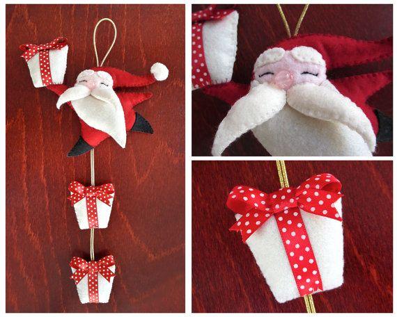 Happy Santa Claus, door decoration for Christmas, made of felt