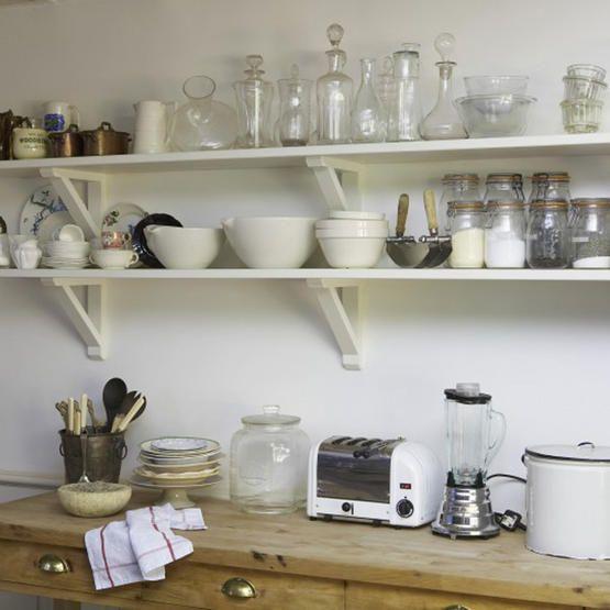 White wooden kitchen shelves