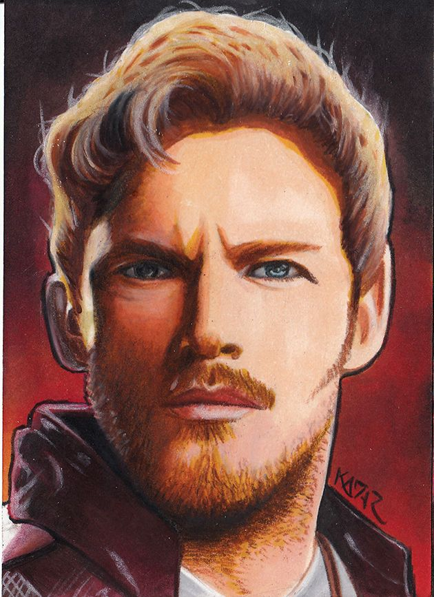 Star-Lord Peter Quill Chris Pratt Sketch Card by Frank Kadar PSC ACEO