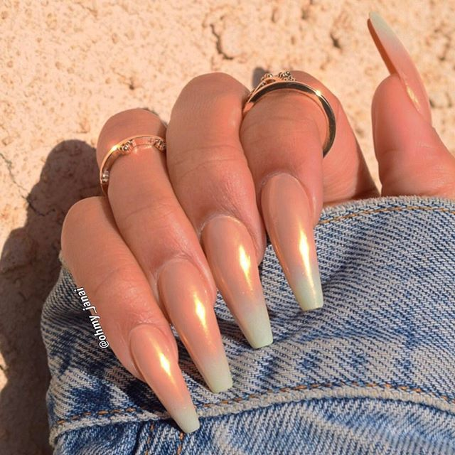 Ombré white to a nude featuring a gold sheen on thin XL square nails #nailedit...x