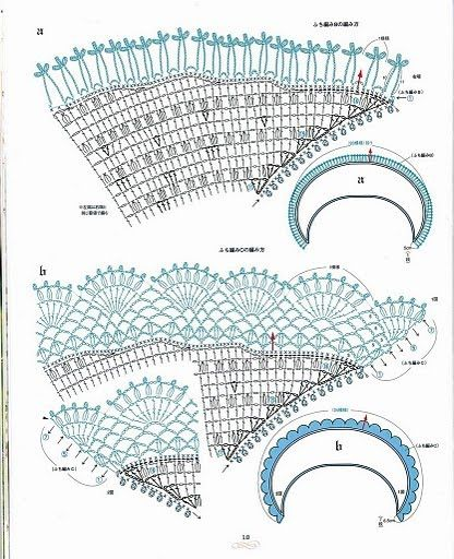 "the diagrams for the ""famous"" Japanese crescent shawl. More diagrams at Crochet by Jane site"