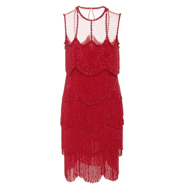 Naeem Khan     Sleeveless Flapper Fringe Mesh Neckline Mini Dress (17.596.540 COP) ❤ liked on Polyvore featuring dresses, naeem khan, red, red mesh dress, short dresses, flapper dress, gatsby dress and sleeveless short dress