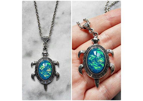 collar tortuga camafeo ópalo azul aguamarina iridiscente plata
