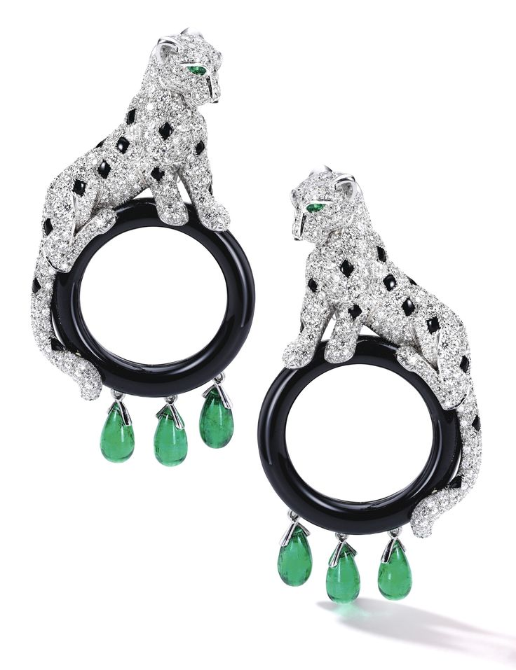 Pair of Diamond, Emerald and Onyx Ear Clips, 'Panthère', Cartier