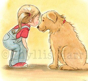 Children's Wall Art Print - First Love Illustration - Girl's room decor. $25.00, via Etsy.