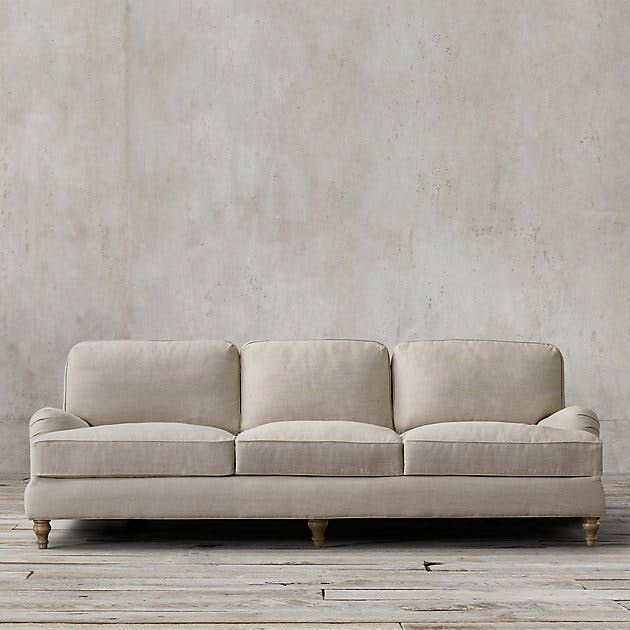 "$3,995  84"" English Roll Arm Upholstered Sleeper Sofa   Restoration Hardware"