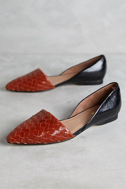 All Black Woven D'Orsay Flats #anthropologie