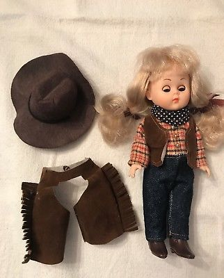 Vintage Ginny Doll w/ Long Blond Hair & Accessories Cowgirl Outfit Cowboy Boots