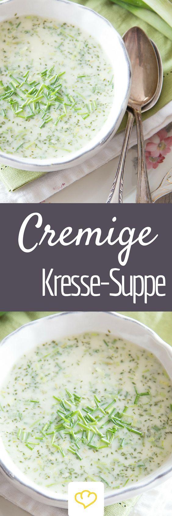 Feines Kressesüppchen - Wer Kresse sonst nur als Gewürz über Eier, Quark und Frischkäse streut, sollte das Kraut schleunigst als Suppe probieren. Mit ihrem leicht scharfen Geschmack, der an Senf erinnert, gibt Kresse deiner Suppe Pepp.