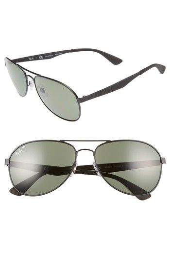 2c7432dcb063 RAY BAN 61MM POLARIZED AVIATOR SUNGLASSES - MATTE BLACK POLAR GREEN.  rayban