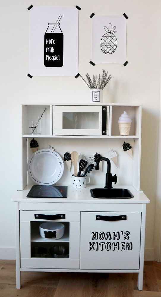 DIY: Monochrome Makeover of the Ikea Duktig Play Kitchen. Pretty white base with black details. [Ikea Duktig Hack]