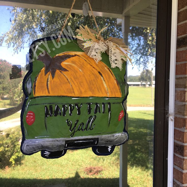Fall Door Hanger,Fall Door Decor,Pumpkin Door Hanger,Painted Door Hangers,Happy Fall Yall Pumpkin Sign,Happy Fall Yall Sign,Truck Door Hange by HousewifeHandcrafted on Etsy https://www.etsy.com/listing/520148730/fall-door-hangerfall-door-decorpumpkin