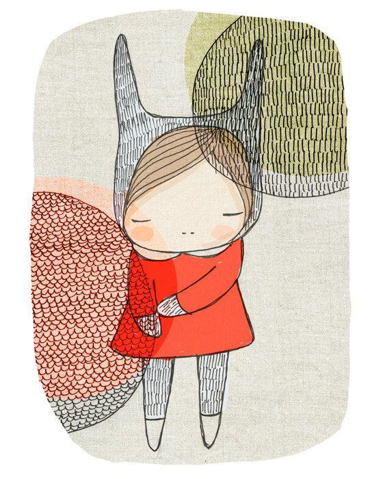 "Childrens art - Bunny Rabbit Girl With Circles A4 Illustration Print - 8.2x11.6"" (21x29.7mm). $16.00, via Etsy."