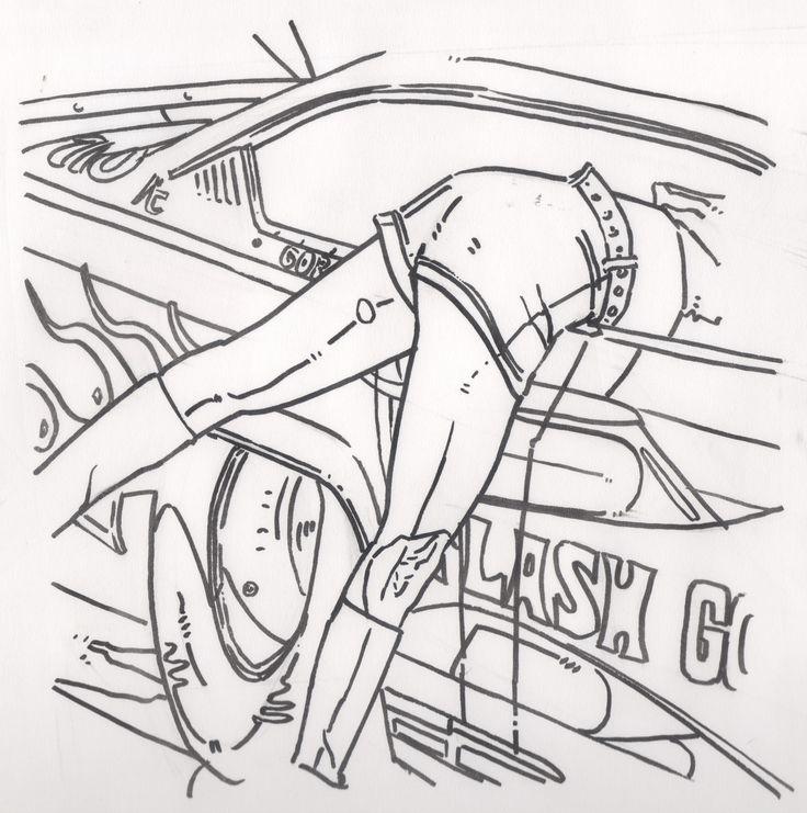 tracé au noir Dragster flash gordon - illustration Stéphane Plassart