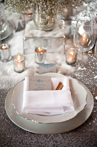 #winter wedding- wedding table setting... Wedding ideas for brides, grooms, parents & planners ... https://itunes.apple.com/us/app/the-gold-wedding-planner/id498112599?ls=1=8 … plus how to organise an entire wedding ♥ The Gold Wedding Planner iPhone App ♥