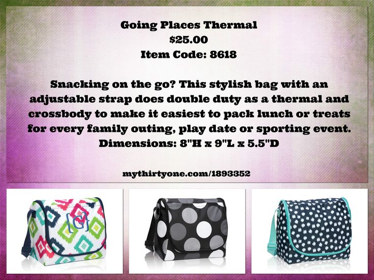 """Snacking on the go? This stylish bag with an adjustable strap does double duty as a thermal and crossbody to make it easiest to pack lunch or treats for every family outing, play date or sporting event. Dimensions: 8""""H x 9""""L x 5.5""""D"""