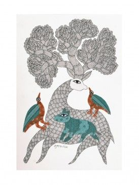 Mother Deer Gond Painting - 11in X 7in By Subhash Vyam