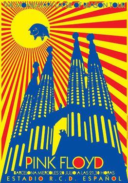 PINK FLOYD - 20 July 1988 - Barcelona Spain -Estadio RCD Espanol - live show artistic concert poster  - manifesto artistico. €10,00, via Etsy.