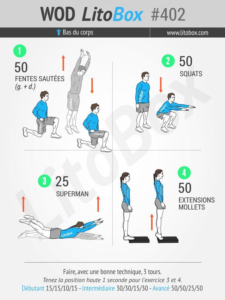 Travail des jambes (cuisses, fesses et mollets) programme au poids du corps