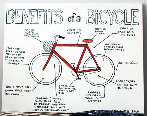 "Really cute version of the original ""Benefits of a Bicycle"" poster!: Original Benefits, Gtravel Bike Hike, The Originals, Bike Stuff"