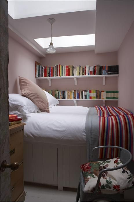 A children's bedroom with walls in Calamine Estate Emulsion and ceiling in All White Estate Emulsion.