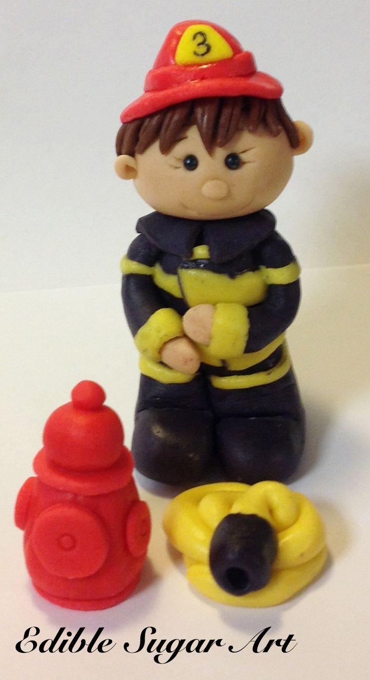 Fondant FIREMAN CAKE TOPPER firefighter Birthday Cake Fire truck cupcake topper cake topper fondant cake topper. $25.00, via Etsy.
