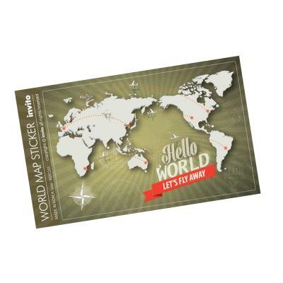Hello World. carrier, ruggage sticker. world map sticker.