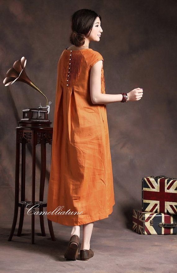 Orange Linen Dress by camelliatune