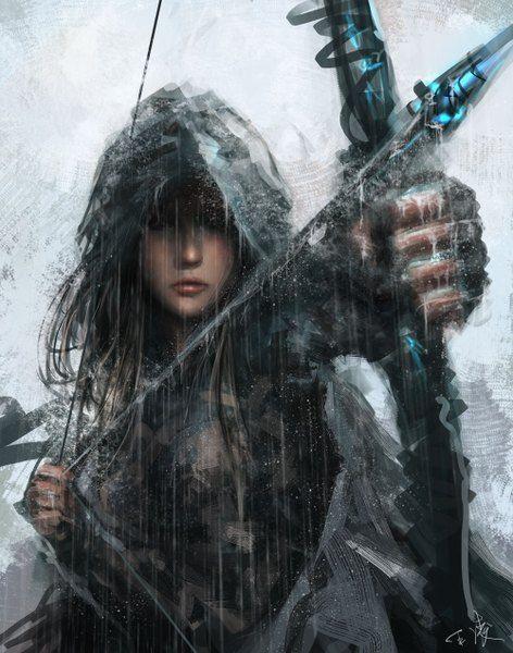 Аниме картинка 1000x1270 с  оригинальное изображение wlop длинные волосы один (одна) высокое изображение каштановые волосы смотрит в сторону подписанный реалистичный дождь воин стрельба из лука девушка перчатки оружие митенки плащ капюшон