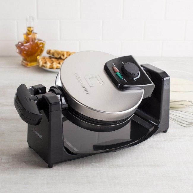 Professional quality rotary waffle maker with brushed stainless steel housing. Makes 1-inch thick, 7-inch round gourmet quality waffle with extra deep pockets and 4 easy cut sections, rotates for easy baking and browning with non-stick coated plates and a drip tray, adjustable controls for light to dark browning with power and ready indicator lights, cool touch handle and easy fold away storage.