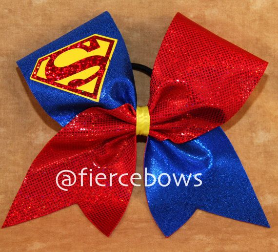 Superman Cheer Bow by MyFierceBows on Etsy, $12.00