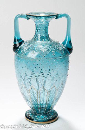 Austro/Bohemian Antique Blue Glass & Jewelled Enamelled Vase | eBay