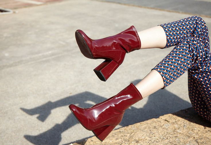 Patent Leather High Heel Sock Style Ankle Boots with Top-stitched detail   ZARA Belgium