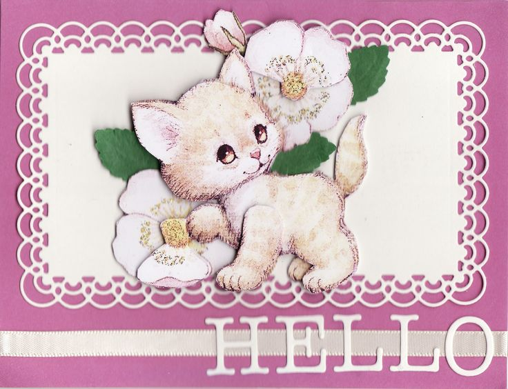 3D kitten and blossoms 'Hello' Card (by Tassie Scrapangel)