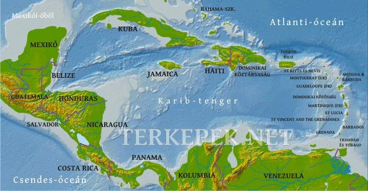 Közép-Amerika térkép