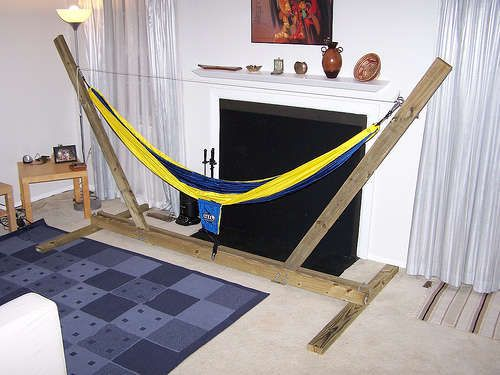 hammock stand.... Need Mr. Mick to build one of these. Our metal frame seems to be missing some pieces...