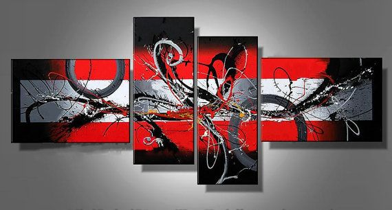 Red-Black Twirls 4 panel painting by LoveCustomArt on Etsy $247