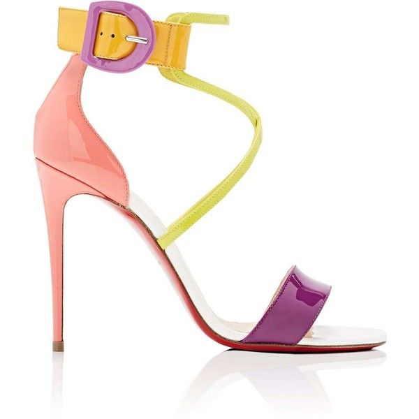 Christian Louboutin Women's Choca Patent Leather Sandals ($845) ❤ liked on Polyvore featuring shoes, sandals, version multi, strappy sandals, high heel shoes, high heeled footwear, multi coloured sandals and strappy high heel sandals